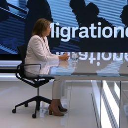 Miljöpartiets språkrör Isabella Lövin under utfrågningen.