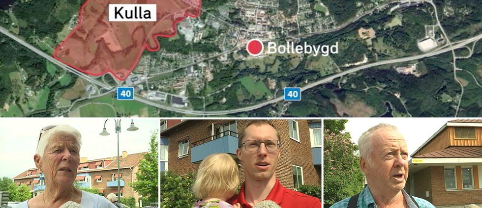 fyrbild: karta över bollebygd med byggområdet rödmarkerat samt tre porträtt på invånare