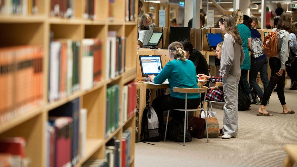 Studenter studerar i biblioteket på Stockholms universitet