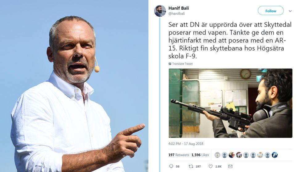 AR-15 är ett vapen som är vanligt förekommande i skolskjutningar i USA. Bilden på Jan Björklund är från partiledarens sommartal i år.
