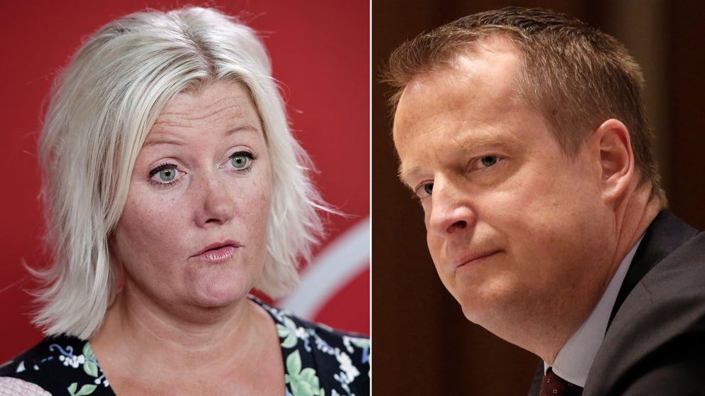 Socialdemokraternas partisekreterare Lena Rådström Baastad och Socialdemokraternas gruppledare i riksdagen Anders Ygeman.