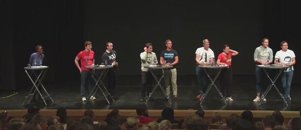 Debatt med riksdagens ungdomsförbund på Rudbecks gymnasium i Sollentuna 29/8.
