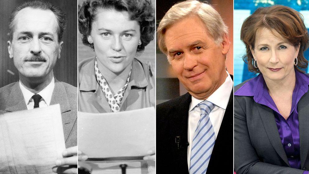 Olle Björklun, Gun Hägglund, Jarl Afredius och Anna Hedenmo – alla programledare för Aktuellt genom åren.