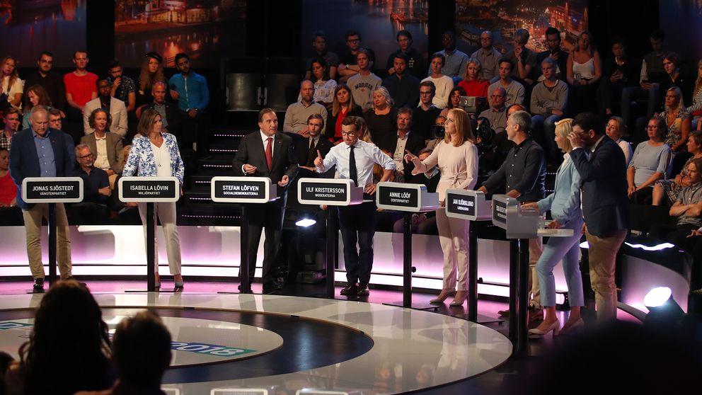 Partiledarna Jonas Sjöstedt (V) Isabella Lövin (MP) Stefan Löfven (S) Ulf Kristersson (M) Annie Lööf (C) Jan Björklund (L) Ebba Busch Thor (KD) och Jimmie Åkesson (SD) vid en partledardebatt arrangerad av Expressen TV och Dagens Industri.