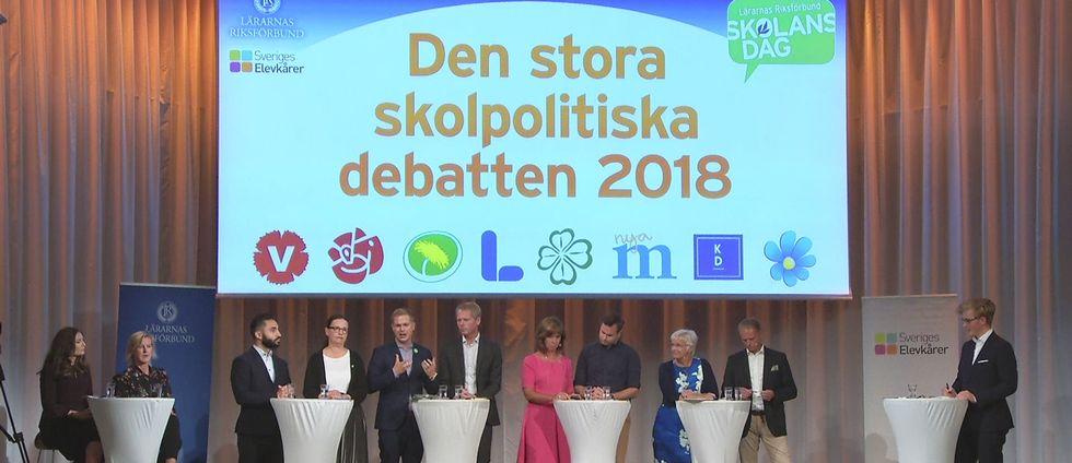 Partiernas skolpolitiska talespersoner möts i en debatt med särskilt fokus på eleverna. Arrangör: Lärarnas Riksförbund och Sveriges Elevkårer.