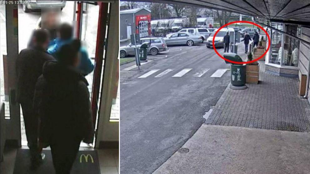 När den 25-årige mannen lämnar snabbmatsrestaurangen tillsammans med en anhörig möter han de två männen som nu misstänks ha hotat att skjuta honom om han vittnar mot en av dem.