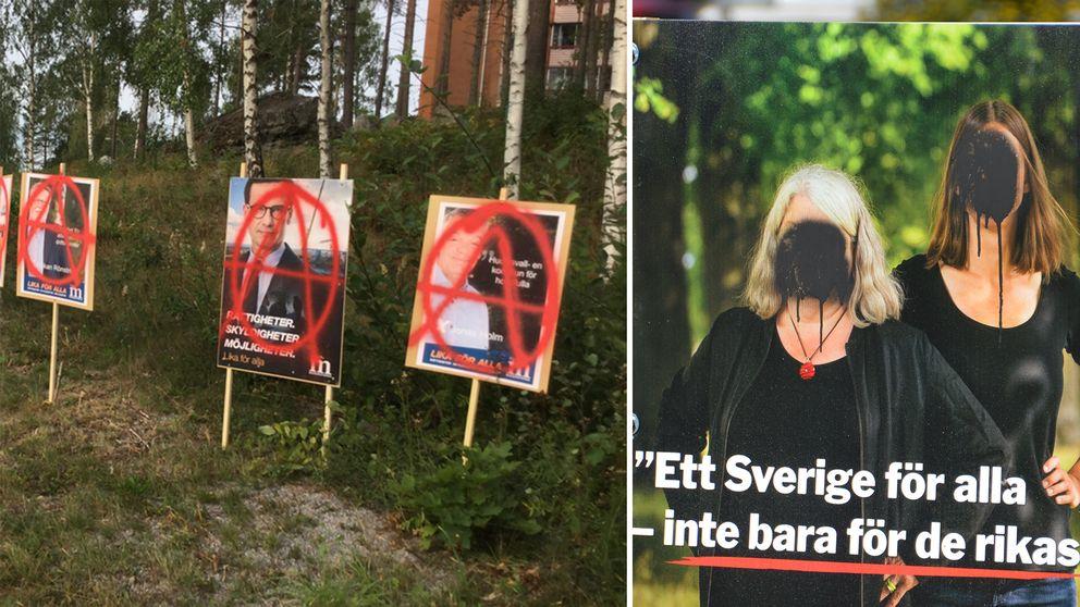 Choice plakater som har blitt vandalisert.