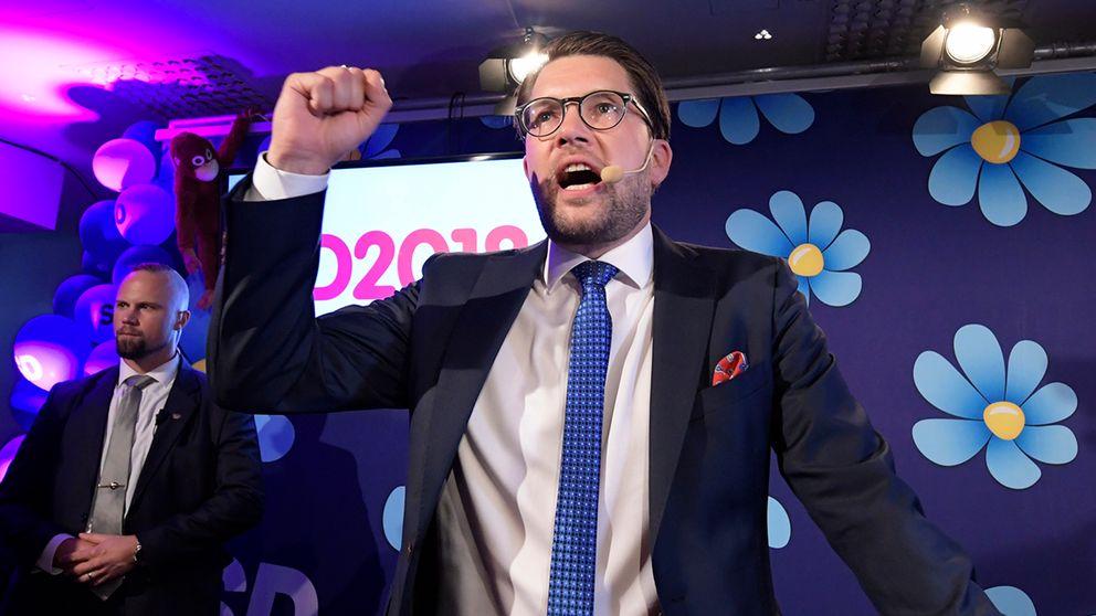 Jimmie Åkesson vid Sverigedemokraternas valvaka.