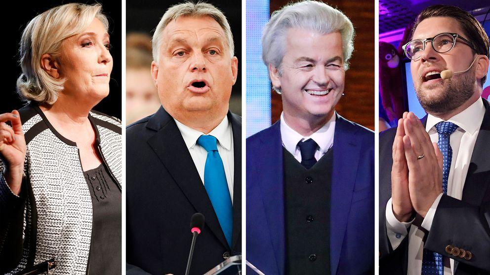 Marine Le Pen (franska Nationell samling), Victor Orbán (ungerska Fidesz), Geert Wilders (nederländska PPV) och Sverigedemokraternas partiledare Jimmie Åkesson