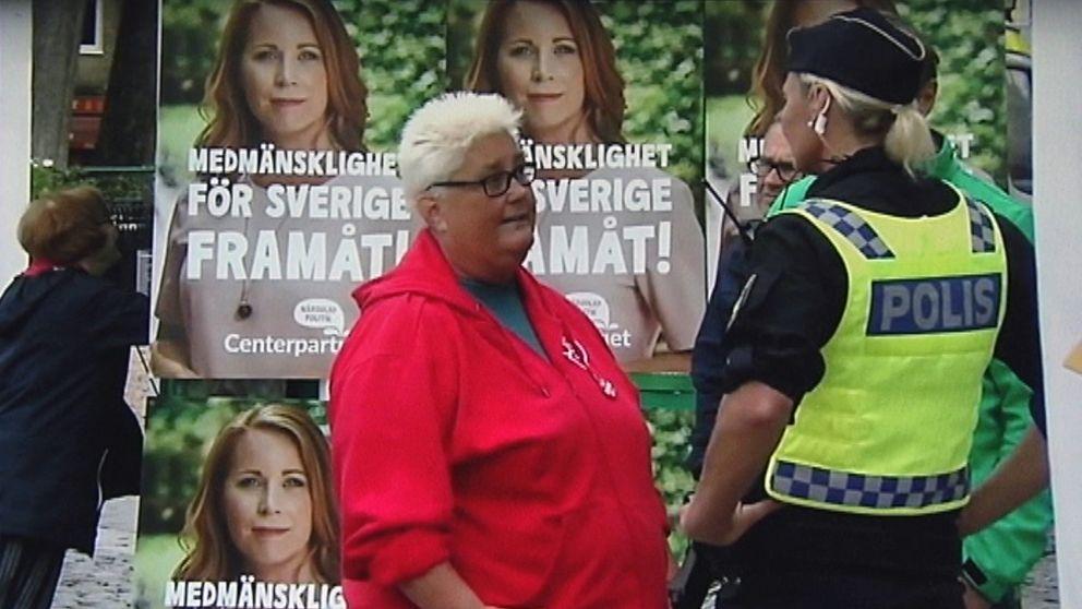 Marie Dahlin (S) på torgmötet i Vänersborg.