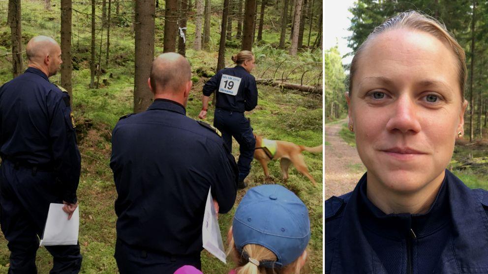 Funktionärer kontrollerar momentet räddningssök i skogen och porträtt på Anna Rydén
