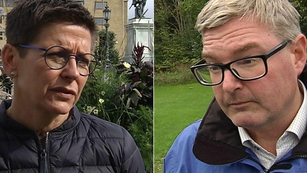 En bild på Ann-Sofie Hermansson (S) och Jonas Ransgård (M)