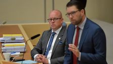 Björn Söder (SD) och Jimmie Åkesson (SD) under den sista partiledardebatten i riksdagen innan valet.