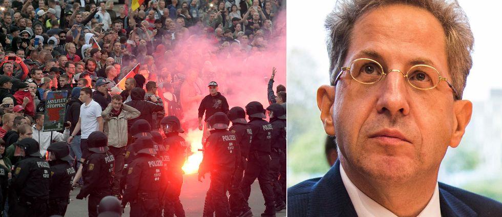 Till vänster de främlingsfientiga protsterna i Chemnitz den 27 augusti i år. Till höger Hans-Georg Maassen som nu får lämna sin post.