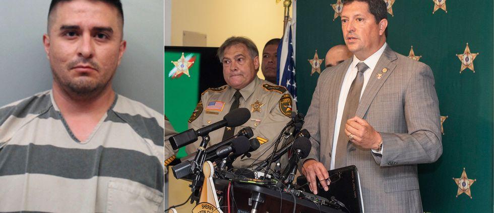 Till vänster syns gränspolisen Juan David Ortiz, som erkänt mord på fyra kvinnor i Texas i USA. Till höger svarar distriktsåklagaren Isidro Alaniz på pressens frågor om morden.
