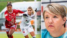 Till vänster: Piteås Madelen Janogy och Rosengårds Hanna Folkesson i duell. Till höger: Linda Wijkström, generalsekreterare för Elitfotboll Dam.