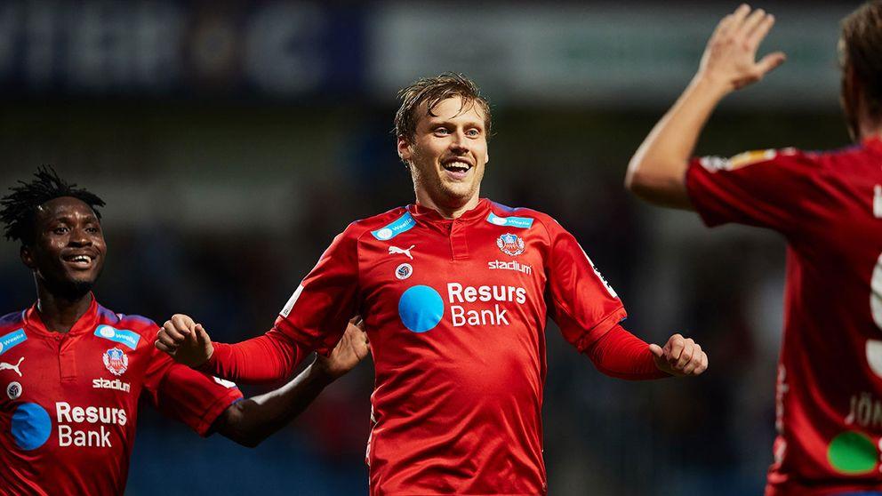 Jubel av Helsingborgs målskytt Andri Rúnar Bjarnason efter 1-0 under onsdagens fotbollsmatch i superettan mellan Helsingborgs IF och IK Brage på Olympia.