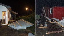 Den kraftiga vinden skickade ett tak in i fönstret på ett hus i Askøy utanför Bergen i Norge.