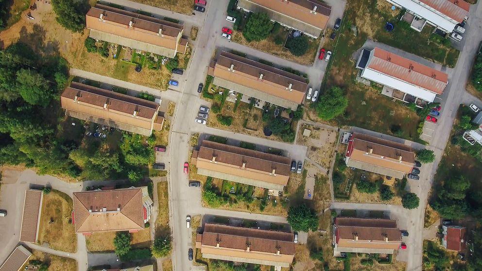 Vy över bostadsområde i Hofors.