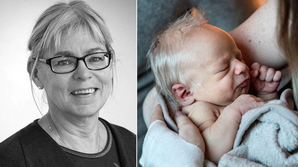Ingegerd Hildingsson / nyfödd bebis i famnen på sin mor