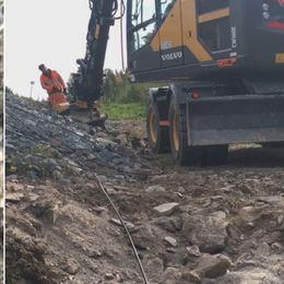 Kabel som gått av, grävmaskin
