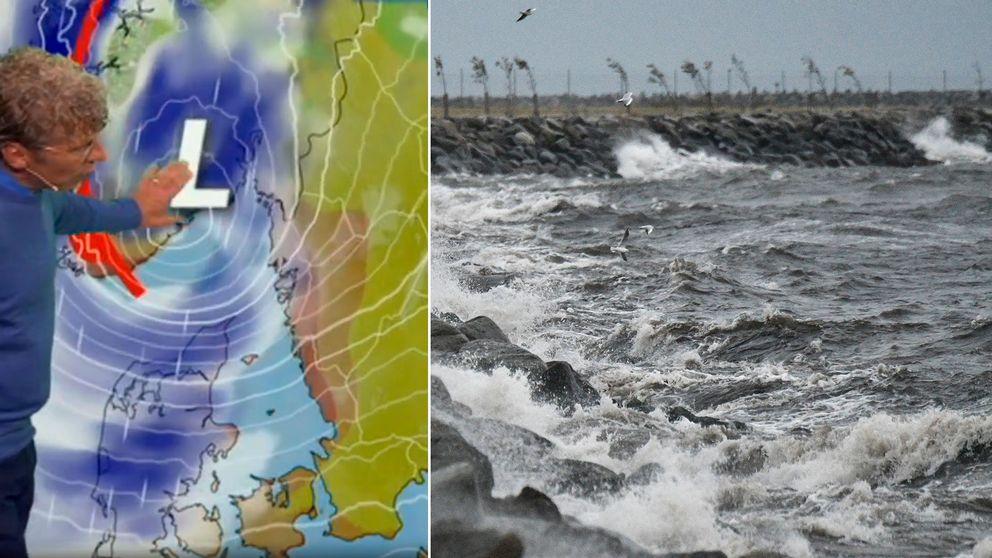 Pererik Åberg visar hur stormen Knud rör sig in över Sverige