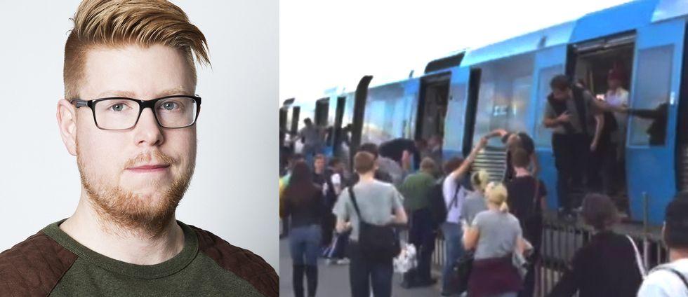 Christian Hoffmann presskommunikatör på trafikförvaltningen vid SLL och bilder från onsdagen när resenärer själva utrymde tåg vid Skanstullsbron.