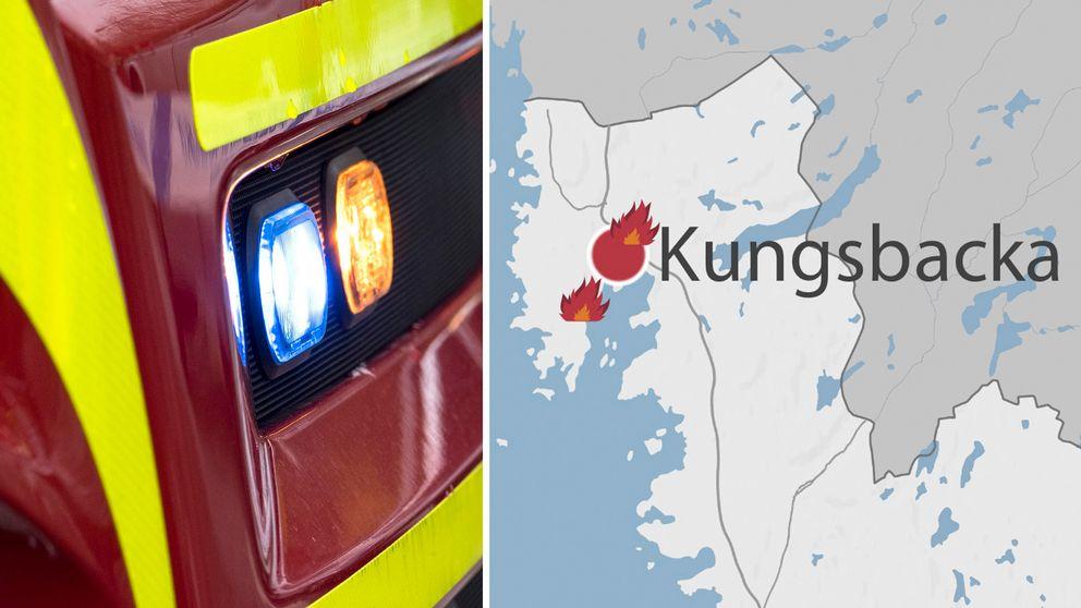 Karta som visar bränder i Kungsbacka.