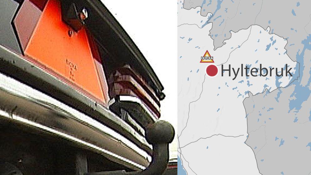 EPA-traktor och olyckakarta i Hylte kommun.