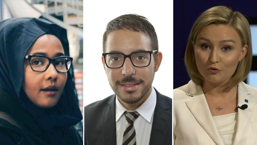 Leila Ali Elmi (MP), Robert Hannah (Liberalerna), Ebba Bush Thor (KD)