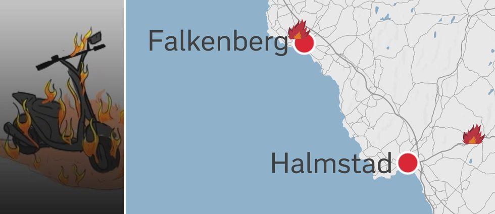 Karta som visar bland annat mopedbrand.