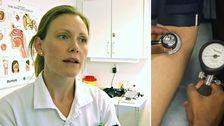 Madelene Ljungars och blodtrycksmätare