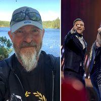 Jan-Olof Säll och programledarna för Melodifestivalen