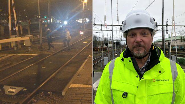 Problem med tågbommarna i Varberg – se resenärerna smita under