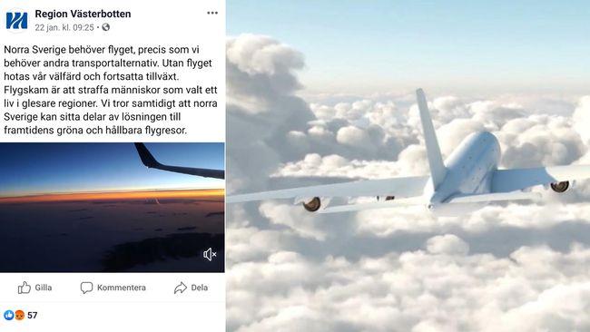 Publicerade film mot flygskam – nu backar Region Västerbotten