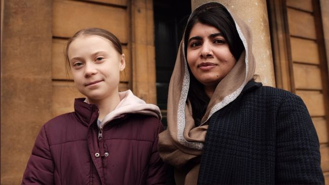 Thunberg träffade fredspristagaren Malala Yousafzai