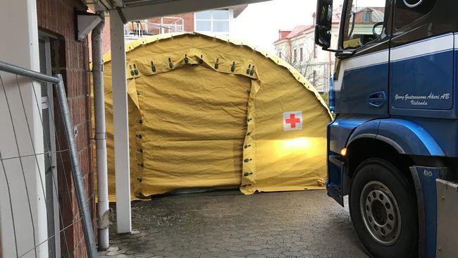 Lasarettet i Växjö sätter upp tält för provtagning av coronavirus