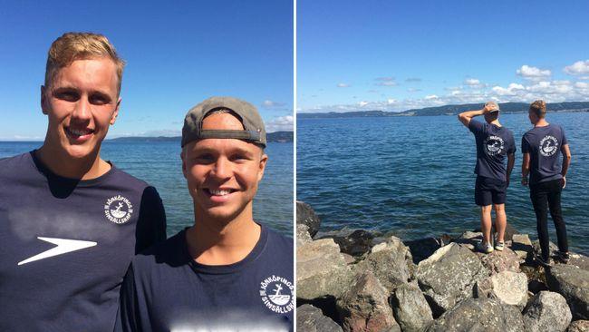 Två elitsimmare simmar från Visingsö till Jönköping
