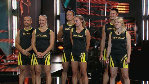 Victoria och Deivid, Amanda och William och Eva-Marie och Knasen i Atleterna.