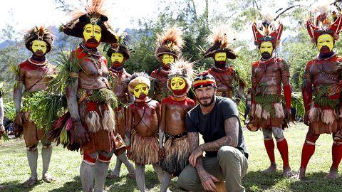 David Beckham på besök i Kur Kur, Western Highlands Province, Papua New Guinea.