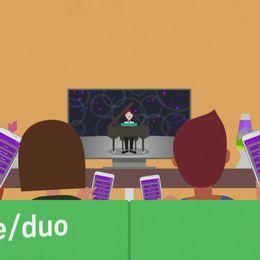 En grafisk bild av en familj som ser på tv med duo-appen.