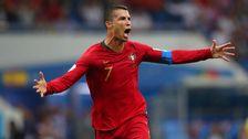 Ronaldo i matchen mellan Spanien och Portugal