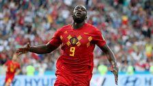 Romelu Lukaku efter ett mål för Belgien