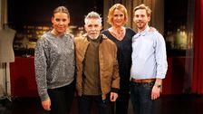 Stylisten Monika Kichau, gästen Olle Viklund, programledaren Inger Ljung Olsson och frisören Jim Pirard.