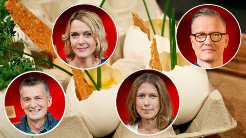 fyra personbilder ovanpå receptbild med ägg