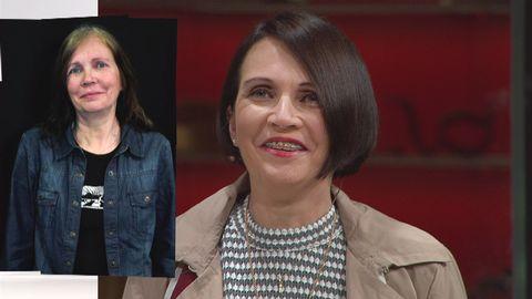 Kvinna i TV-studio med mörkt hår. Bilden innehåller också en inklippt bild på samma kvinna i annan klädsel.