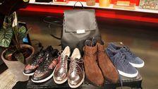 Skor med mönster, Ecco. Väska, Vagabond. Silver sneakers, Steve Madden. Bruna boots, Tommy Hilfiger. Blå skor, Michael Kors.