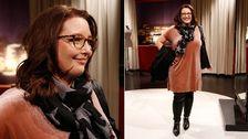 Emmas nya stil! Finalkläder: Puderrosa klänning i sammet, Lindex. Sjal med stjärnor, Beck Söndergaard. Svart skinnbyxa, Part Two. Svart kappa, Zara. Stövlett med nitar, Guess.