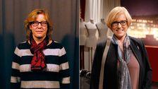 Samma kvinna i två olika klädstilar och frisyrer.