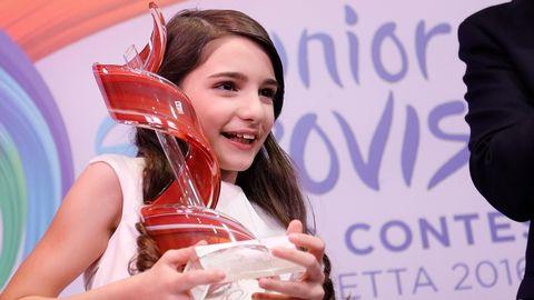 Bild på Mariam Mamadashvili från Georgien som vann Junior Eurovision Song Contest2016.
